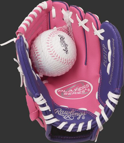 PL91PP Rawlings 9-inch tee ball glove with a pink palm, white laces and soft core ball included