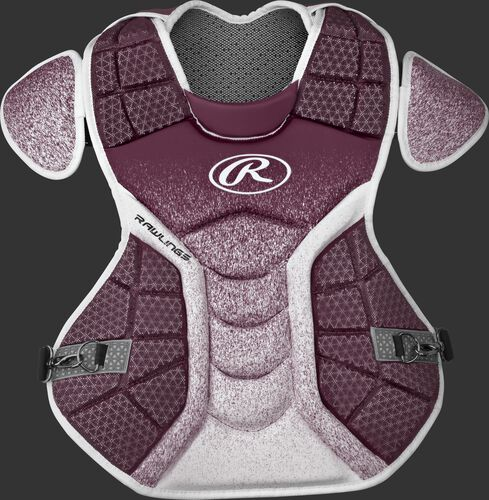 A maroon/white CPVEL Velo series adult chest protector