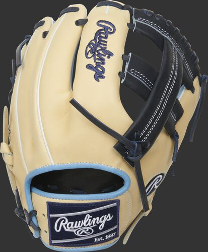 Camel back of a 2021 Heart of the Hide Single Post web glove with a navy Rawlings patch - SKU: PRO204-20CB