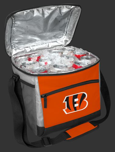 An open Cincinnati Bengals 24 can cooler filled with ice and drinks - SKU: 10211063111