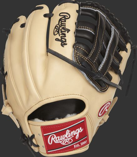 PROS204-6BC 11.5-inch Rawlings H web glove with a camel kip leather back