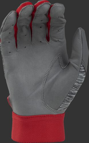 Grey palm of a grey/scarlet 5150GBGY youth 5150 bating glove