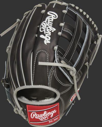 Back of a black Pro Preferred Kevin Kiermaier glove with a black H web - SKU: PROS3039-KK39