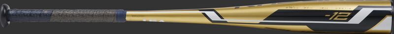 USZT12 Rawlings -12 Threat bat with a gold barrel and navy/white accents