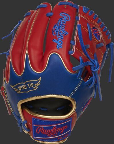 PRO204W-8SRG 11.5-Inch Heart of the Hide infield/pitcher's glove with a royal Wing Tip back and scarlet fingers