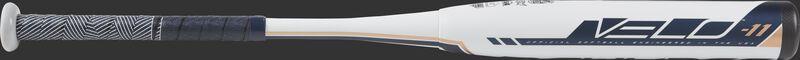 Barrel of a white FP9V11 2019 Velo softball bat with navy/white grip
