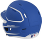 Back left view of a matte royal/white MACHEXTR MACH series two-tone batting helmet with air vents image number null
