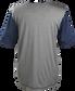 Back of a gray Rawlings Hurler short sleeve shirt with navy sleeves - SKU: HSSP-GR/N image number null
