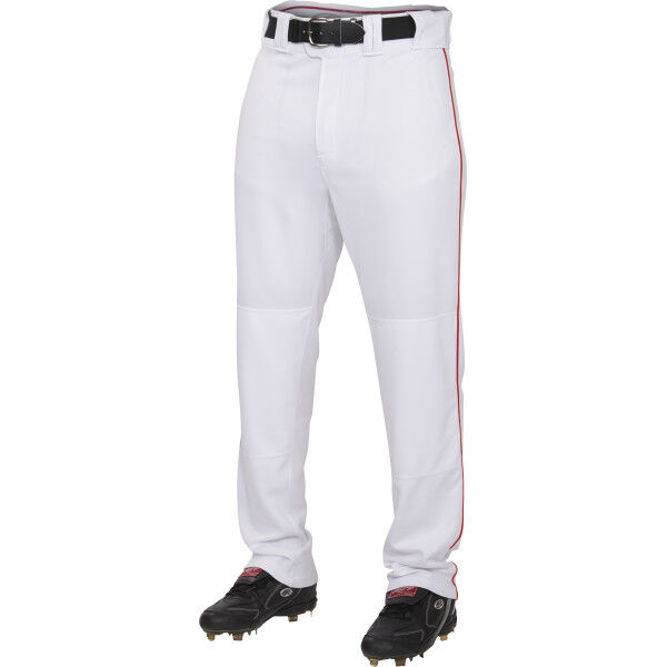 Adult Semi-Relaxed Piped Pant White/Scarlet