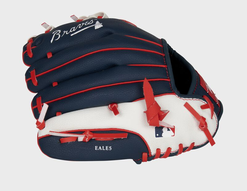 Back of a navy/white Rawlings Atlanta Braves youth glove with the MLB logo on the pinky - SKU: 22000005111