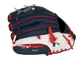 Back of a navy/white Rawlings Atlanta Braves youth glove with the MLB logo on the pinky - SKU: 22000005111 image number null