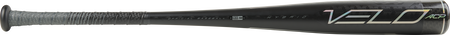 Barrel of a black BBZV3 2020 Velo ACP BBCOR bat -3 with silver accents and black/silver grip