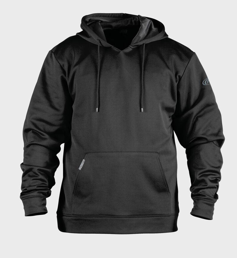 Front of Rawlings Black Youth Long Sleeve Hoodie - SKU #YPFH