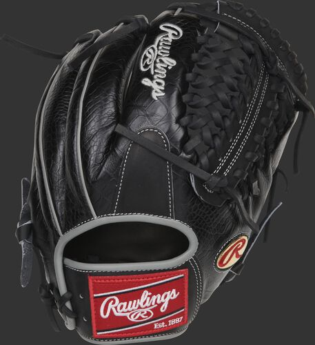 Black croc embossed back of a Dallas Keuchel Heart of the Hide glove with a black Modified Trap-Eze web - SKU: RSGPRO206-DK60