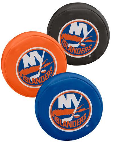Rawlings NHL New York Islanders Three Puck Softee Set With Black, Orange, and Blue Pucks and Team Logo SKU #00614100111