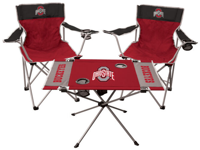 Front of Rawlings Red and Black NCAA Ohio State Buckeyes 3-Piece Tailgate Kit With Two Kickoff Chairs, An Endzone Table, And A Transport Bag With Team Logo SKU #00993042511