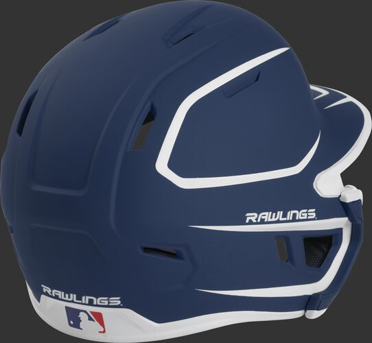 Back right of a two-tone matte navy/white MACHEXTR Rawlings junior size batting helmet