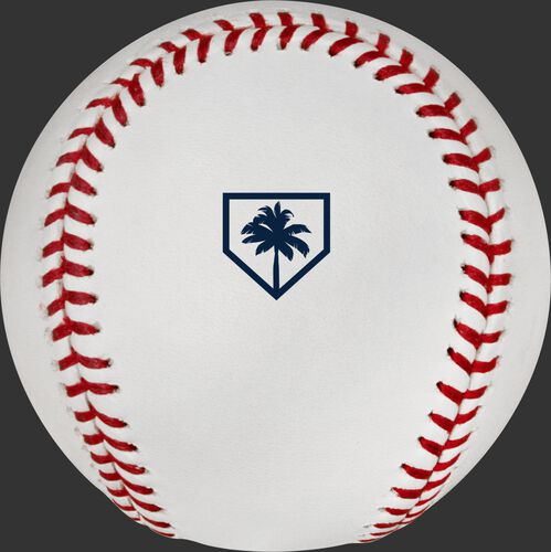 The official MLB Spring Training Florida 2019 logo stamped on the ROMLBSTFL19 baseball