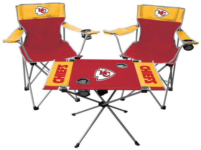 Front of Rawlings Red and Yellow NFL Kansas City Chiefs 3-Piece Tailgate Kit With Two Kickoff Chairs, An Endzone Table, And A Transport Bag With Team Logo SKU #01041071511