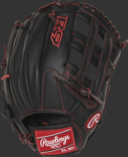 R9YPT6-6B 12-inch R9 Series outfield glove with a black back and designed with a youth pro taper fit