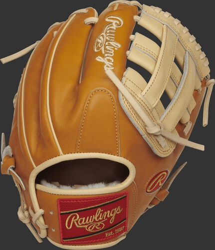 PROS204-6CT Rawlings 11.5-inch H web glove with a rich tan Kip leather back