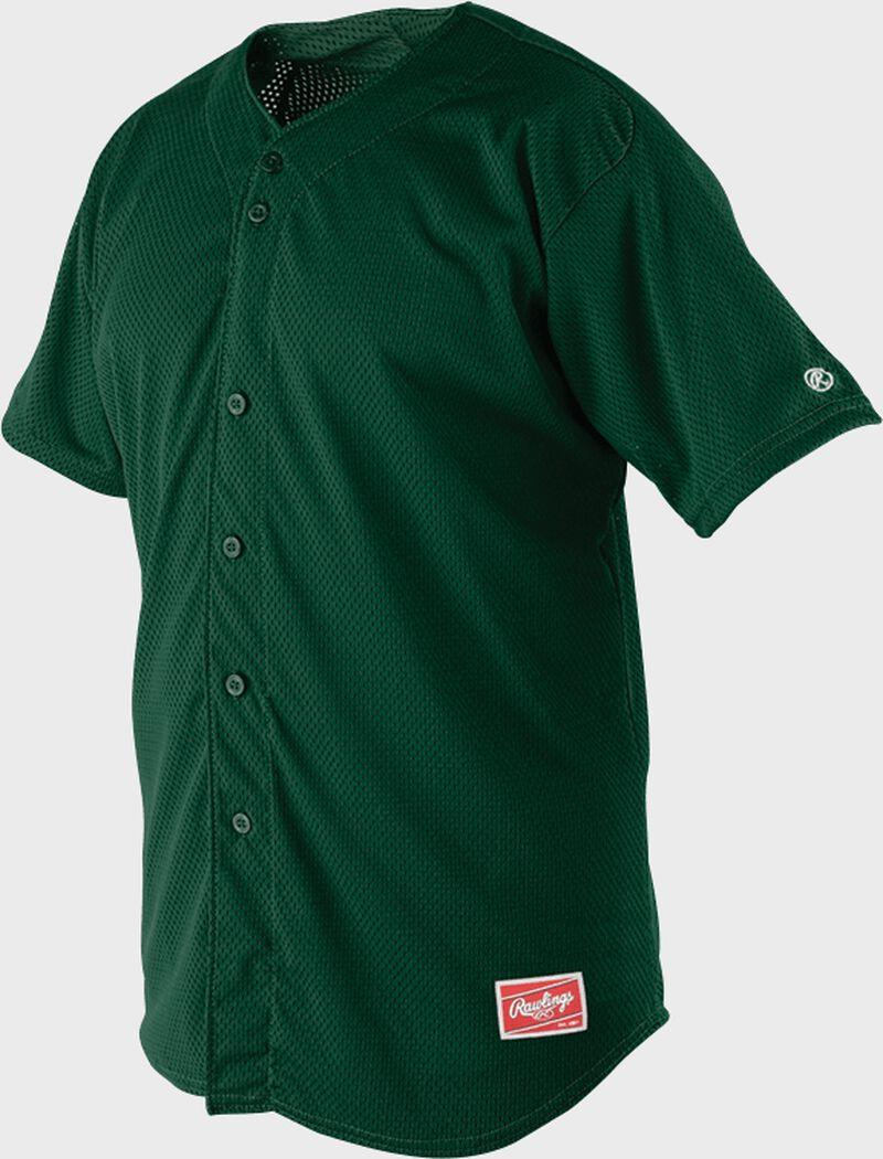 Front of Rawlings Dark Green Adult Short Sleeve Jersey  - SKU #RBJ167