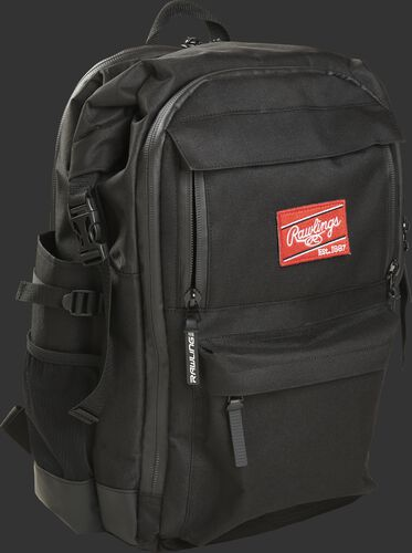 Front angle of a Rawling's CEO coach's backpack with a red Rawlings patch - SKU: CEOBP-B