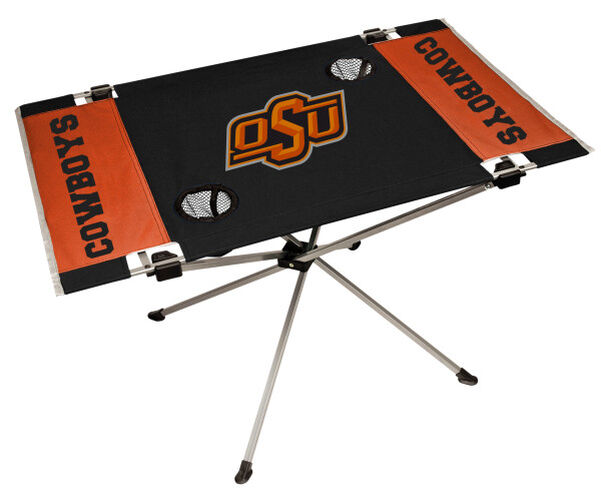 Rawlings Orange and Black NCAA Oklahoma State Cowboys Endzone Table With Two Cup Holders, Team Logo, and Team Name SKU #04053044111