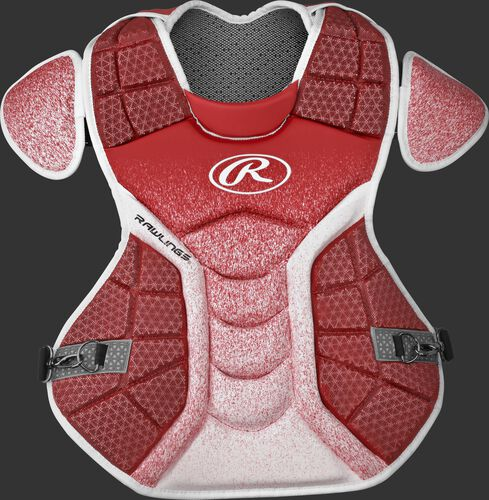 A scarlet/white CPVEL Velo series adult chest protector