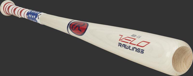 3/4 view of a white Y62AV Rawlings Velo youth ash bat