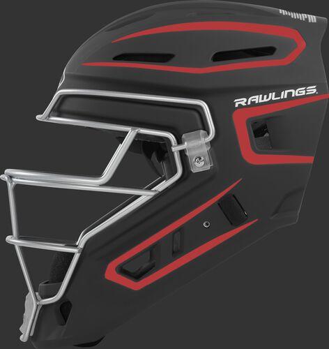 Left side of a black/scarlet CHV27J Rawlings hockey style Velo 2.0 catcher's helmet