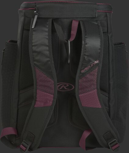 Back of a maroon/black R600 Rawlings Players backpack with black shoulder straps