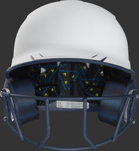 Front of a white/navy Mach fastpitch softball helmet with a navy mask - SKU: MSB13S-W/N
