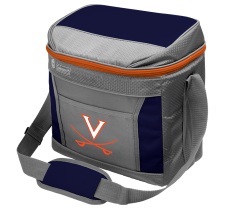 A grey NCAA Virginia Cavaliers 16 can cooler with a team logo printed on the front