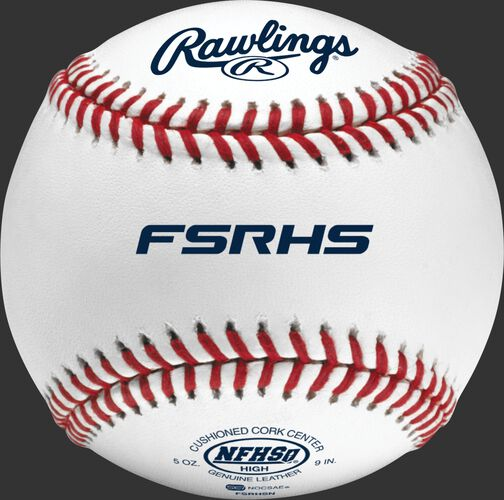 A Rawlings high school flat seam baseball with red seams and the NFHS logo - SKU: FSRHSN