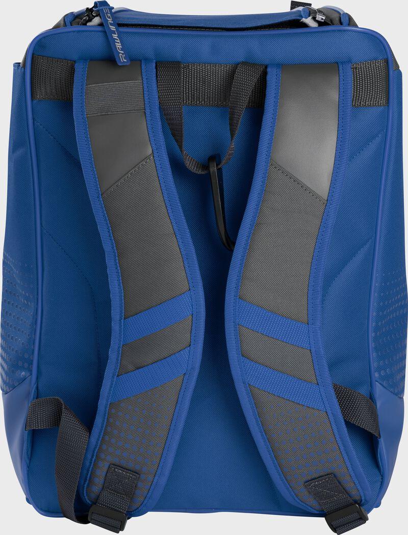 Back of a royal Rawlings Franchise backpack with gray shoulder straps - SKU: FRANBP-R