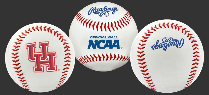 3 views of a NCAA Houston Cougars baseball with a team logo, NCAA logo and Rawlings logo