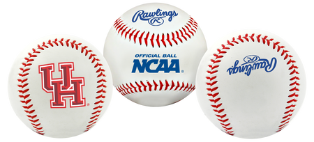 3 views of a NCAA Houston Cougars baseball with a team logo, NCAA logo and Rawlings logo