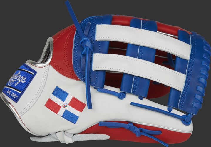 A white/scarlet PRO3039-6DR HOH Dominican Republic outfield glove with a white/royal H-web and DR flag on the thumb