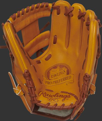 Palm of a PROS204-2KRTP Rawlings Pro Preferred glove with a rich tan palm and tan laces