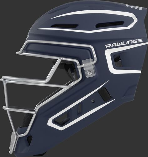 Left side of a navy CHV27J Rawlings hockey style Velo 2.0 catcher's helmet