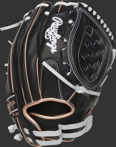 Back of a black Heart of the Hide softball glove with rose gold binding/welting and pull strap back - SKU: PRO120SB-3BRG
