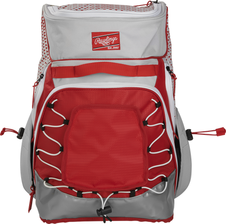 Front of a white/scarlet R800 Rawlings softball backpack with a red patch and beaver tail external pocket