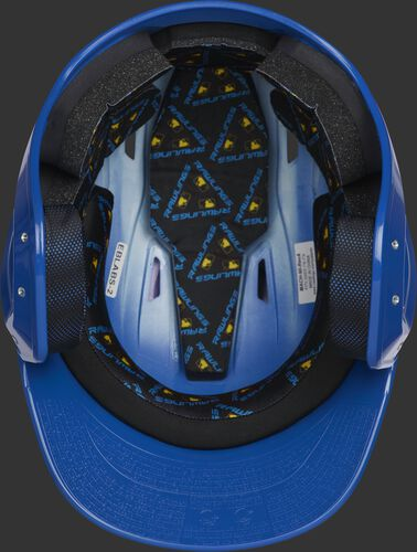 Inside of a royal MCC01 ventilated Mach batting helmet with black foam padding