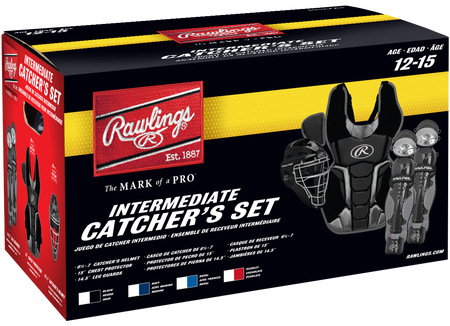 Box of an intermediate RCSNY Renegade youth Renegade 2.0 catcher's gear set
