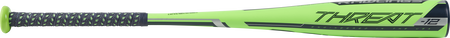 Barrel view of a US9T12 2019 Threat USA baseball bat with a green barrel, navy accents and navy grip
