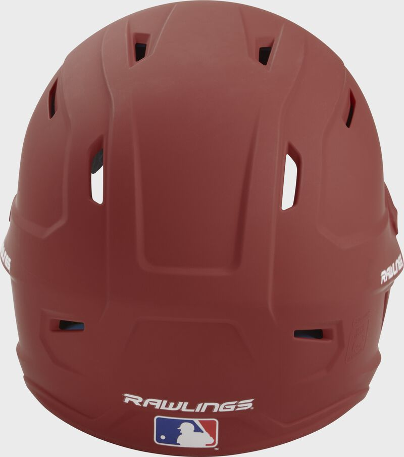 Back of a cardinal MACH high performance helmet with the Official Batting Helmet of MLB logo