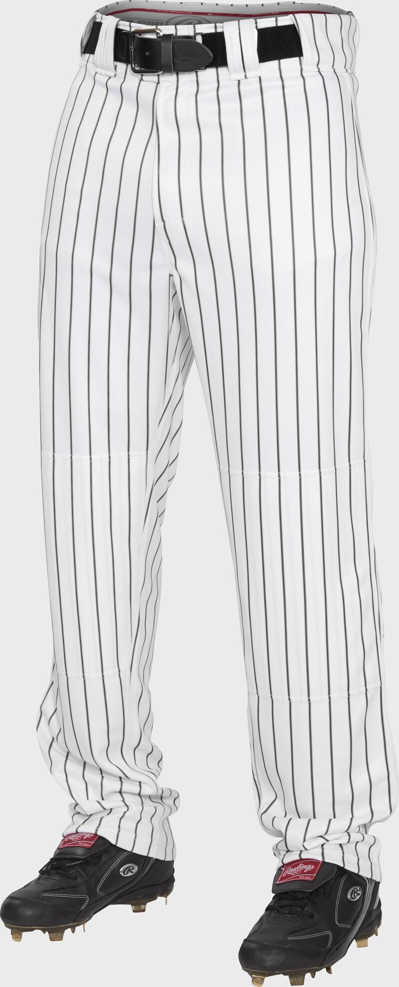 Front of Rawlings Black Adult Semi-Relaxed Pinstripe Pant - SKU #PIN150