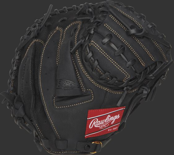 Back view of a black 31.5-inch Renegade Series youth recreational catcher's mitt with a black back