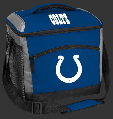 A blue Indianapolis Colts 24 can soft sided cooler with screen printed team logos - SKU: 10211070111